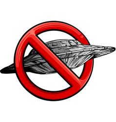 ufo with symbol ban vector image