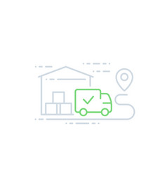 warehouse and van delivery icon line art vector image