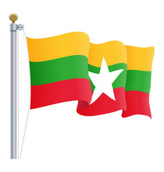 waving myanmar flag isolated on a white background vector image
