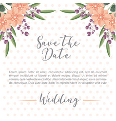 wedding flowers leaves dots background save the vector image