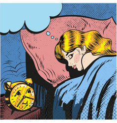 woman sleeping with alarm waking up pop art comic vector image