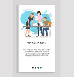 working task teamwork boss and employees slider vector image