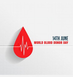 World blood donor day with blood drop vector