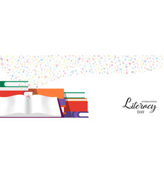World literacy day banner of education books vector