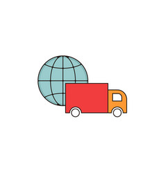 Worldwide delivery outline icon vector