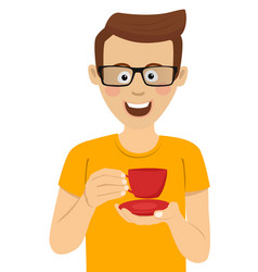 Young man with glasses holding cup of tea vector