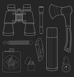 Camping items set No outline Chalk on blackboard vector image