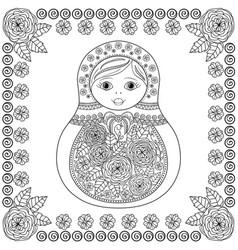 coloring book - russian matrioshka doll vector image