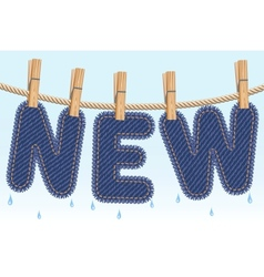 jeans new drying on a clothesline vector image vector image