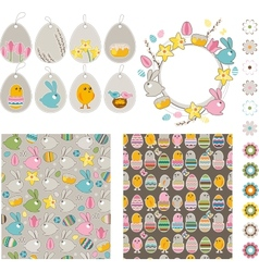 Big Easdter collection with chickens and rabbits vector image