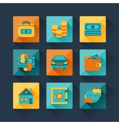 Set of business icons in flat design style vector image vector image