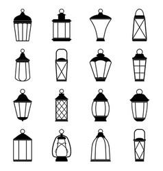 set of lantern icons vector image