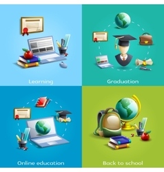 Education and learning icons set vector image vector image