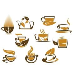 Herbal tea symbols and emblems vector image vector image