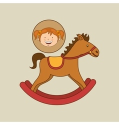 Beautiful girl smiling rocking horse vector
