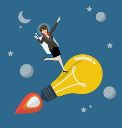 Business woman astronaut on a moving lightbulb vector image vector image