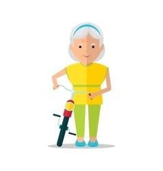 elderly women walk with bicycle vector image
