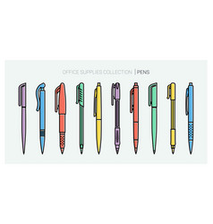 office supplies collection pens set writing vector image