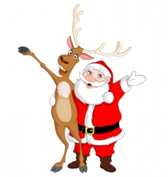 Santa and rudolph vector image vector image