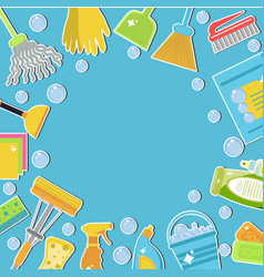 set of icons for cleaning tools cleaning template vector image vector image