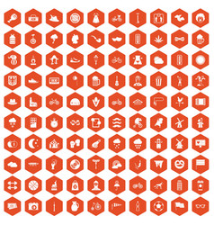 100 bicycle icons hexagon orange vector