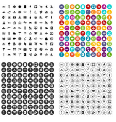 100 seaside resort icons set variant vector image