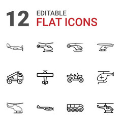12 helicopter icons vector