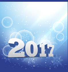 2017 text writtern in 3d style on blue beautiful vector image