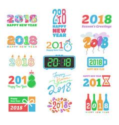 2018 new year calendar christmas logo text vector image