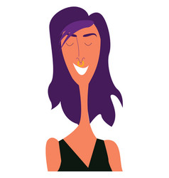 A skinny girl with purple-colored lilac hairstyle vector