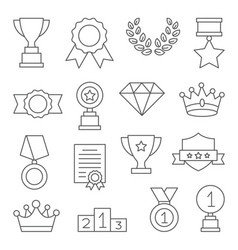 awards line icons set on white vector image