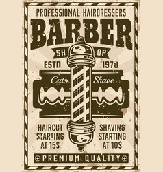 Barber shop vintage poster with pole and blade vector