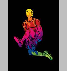 Basketball player action cartoon sport vector