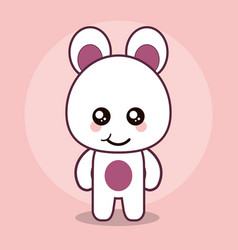 Bear teddy kawaii cartoon happy cute icon vector