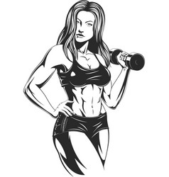 Beautiful fitness girl vector