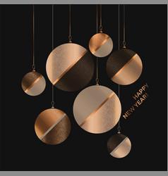 beige and gold elegant xmas balls poster on black vector image