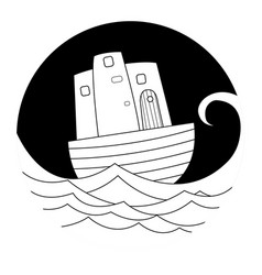 Boat on the sea doodle vector