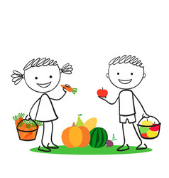 boy and girl holding carrot and apples vector image
