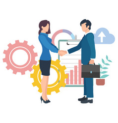 Business agreement leadership handshake vector