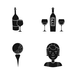 cap sportsman winery and other web icon in black vector image