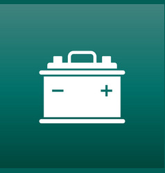 car battery flat icon on green background auto vector image