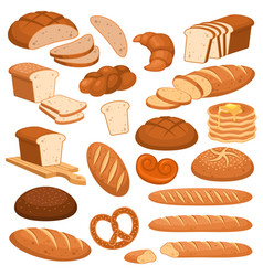 cartoon bread bakery rye products wheat and vector image