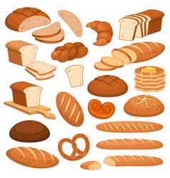 Cartoon bread bakery rye products wheat vector