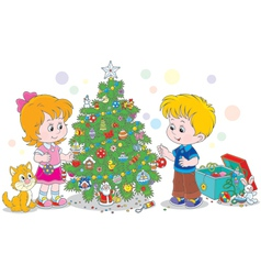 Children decorating a Christmas tree vector