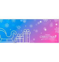 christmas and new year card sledge and gifts vector image