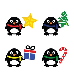 Christmas cute penguin icons set vector image