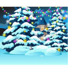 Christmas tree with glowing garlands on vector