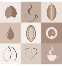 Cocoa Icon set vector