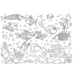 Coloring of underwater world Aquarium with fish vector image vector image