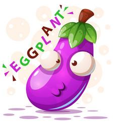 Cute eggplant - cartoon characters vector